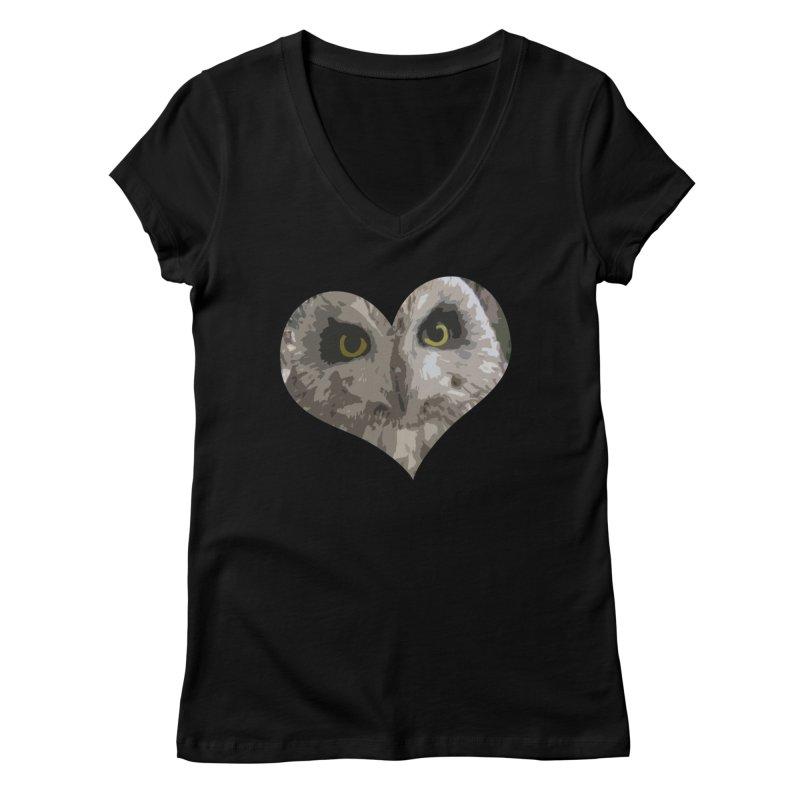Owl Heart Filter Women's V-Neck by mirrortail's Shop