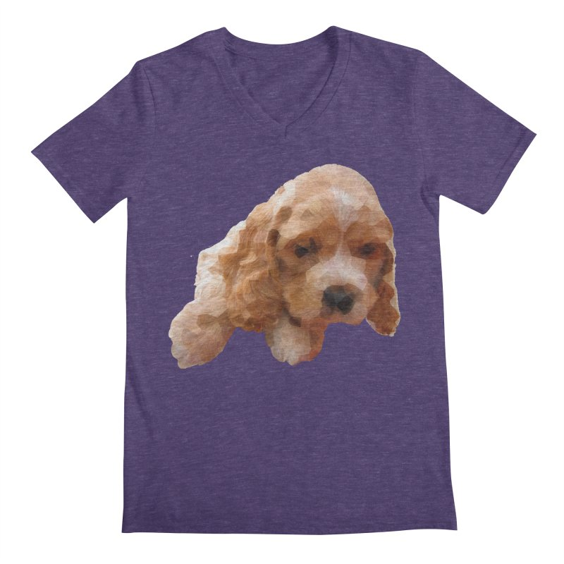Cocker Spaniel Poly Men's Regular V-Neck by mirrortail's Shop