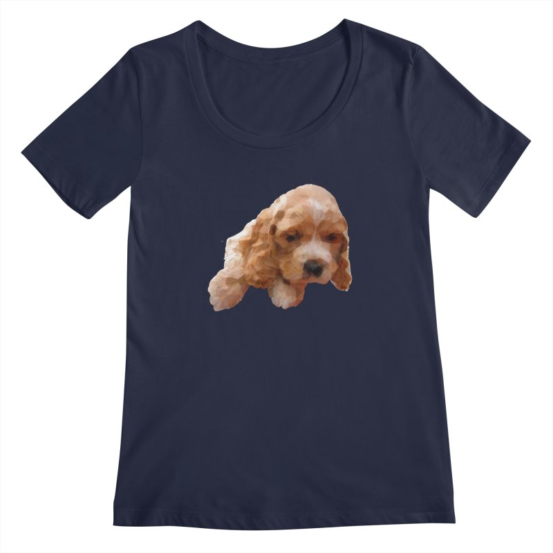 Cocker Spaniel Poly Women's Scoopneck by mirrortail's Shop