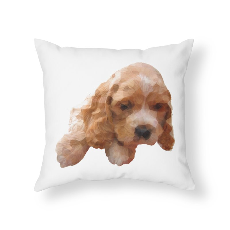 Cocker Spaniel Poly Home Throw Pillow by mirrortail's Shop