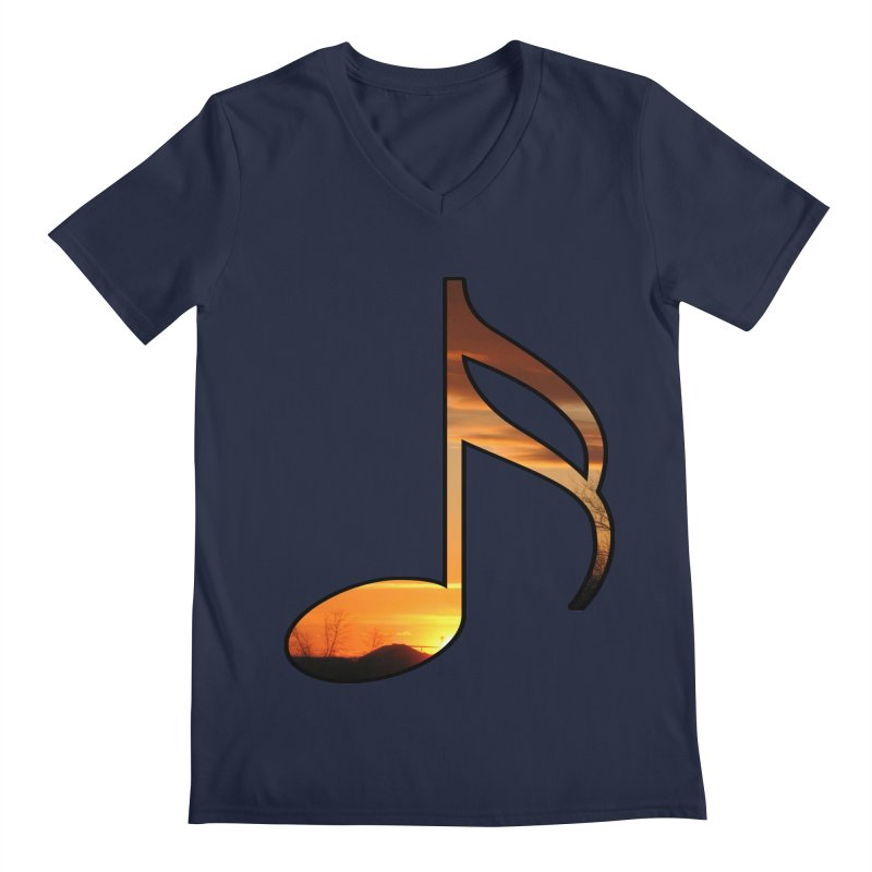 Musical Sunset Men's V-Neck by mirrortail's Shop