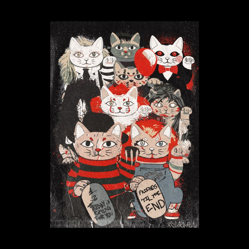 Horror Maneki Neko Vintage Gang Halloween Party 2019 T-Shirt Women's V-Neck by miskel's Shop