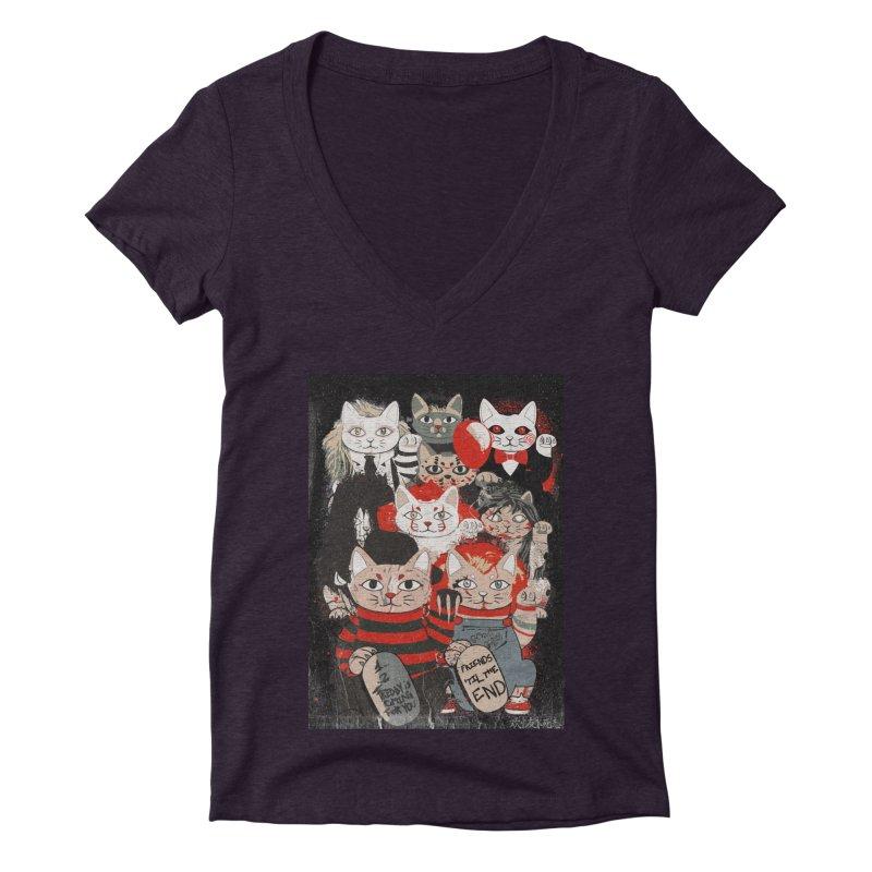 Horror Maneki Neko Vintage Gang Halloween Party 2019 T-Shirt Women's Deep V-Neck V-Neck by miskel's Shop