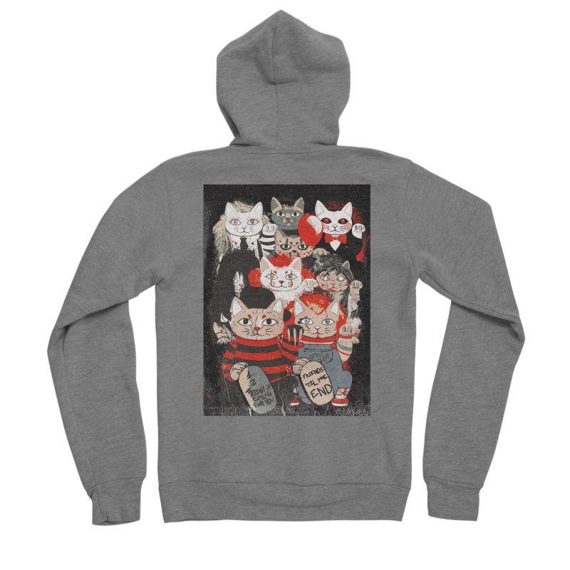 Horror Maneki Neko Vintage Gang Halloween Party 2019 T-Shirt Men's Sponge Fleece Zip-Up Hoody by miskel's Shop