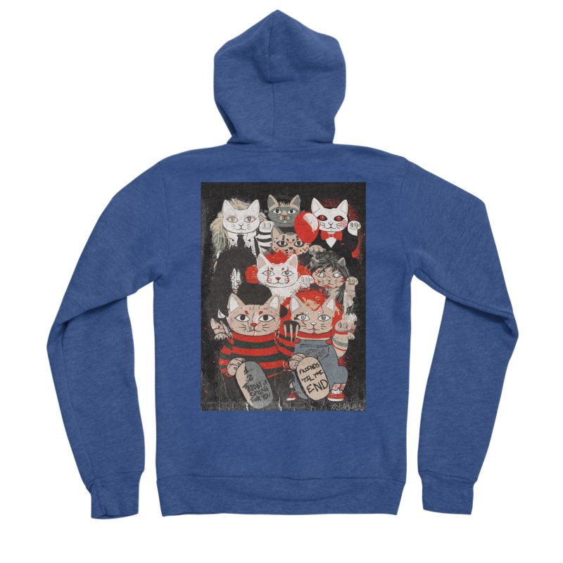 Horror Maneki Neko Vintage Gang Halloween Party 2019 T-Shirt Men's Sponge Fleece Zip-Up Hoody by miskel's Shop