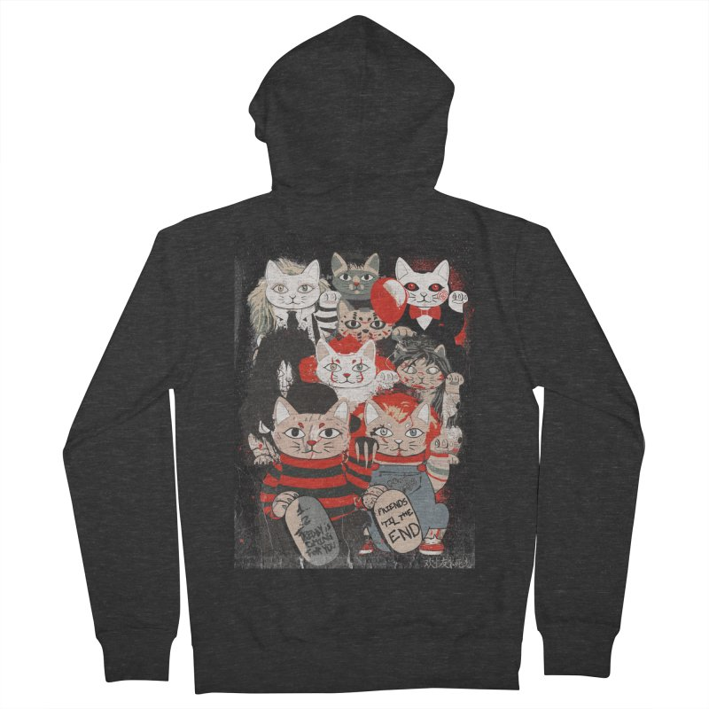 Horror Maneki Neko Vintage Gang Halloween Party 2019 T-Shirt Men's French Terry Zip-Up Hoody by miskel's Shop