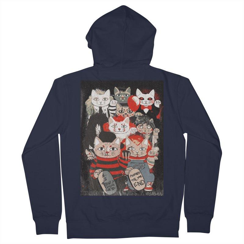 Horror Maneki Neko Vintage Gang Halloween Party 2019 T-Shirt Men's French Terry Zip-Up Hoody by miskel's Shop