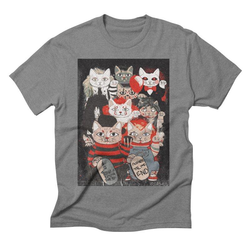 Horror Maneki Neko Vintage Gang Halloween Party 2019 T-Shirt Men's Triblend T-Shirt by miskel's Shop