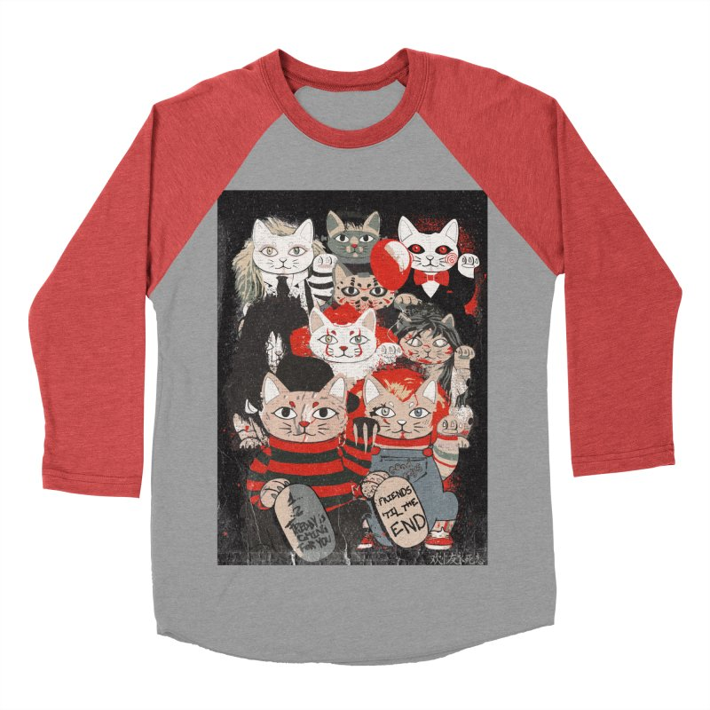Horror Maneki Neko Vintage Gang Halloween Party 2019 T-Shirt Women's Baseball Triblend Longsleeve T-Shirt by miskel's Shop