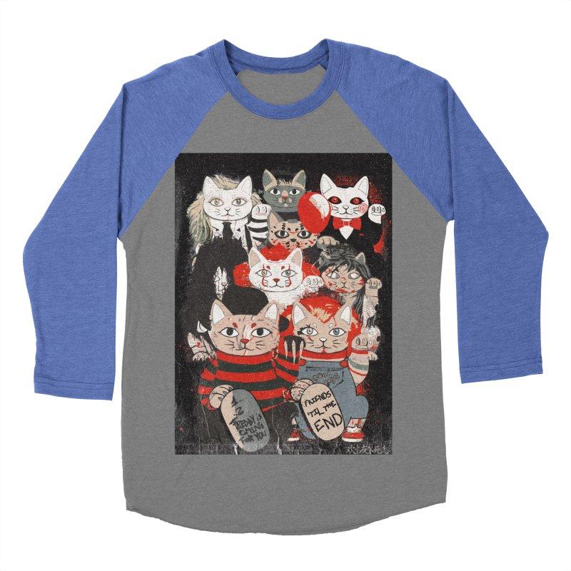 Horror Maneki Neko Vintage Gang Halloween Party 2019 T-Shirt Men's Baseball Triblend Longsleeve T-Shirt by miskel's Shop