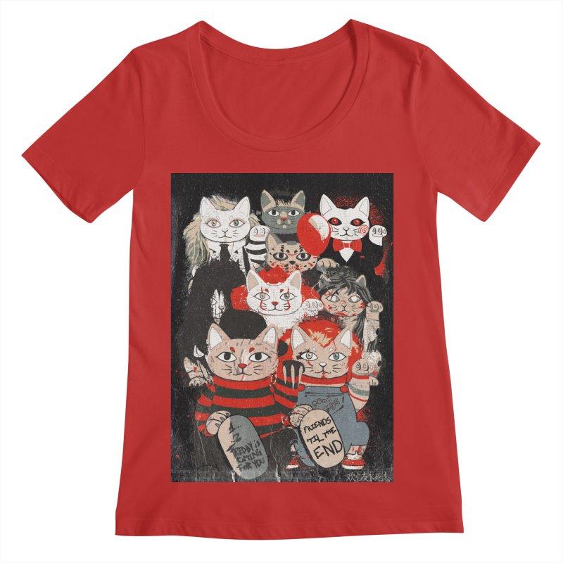 Horror Maneki Neko Vintage Gang Halloween Party 2019 T-Shirt Women's Regular Scoop Neck by miskel's Shop