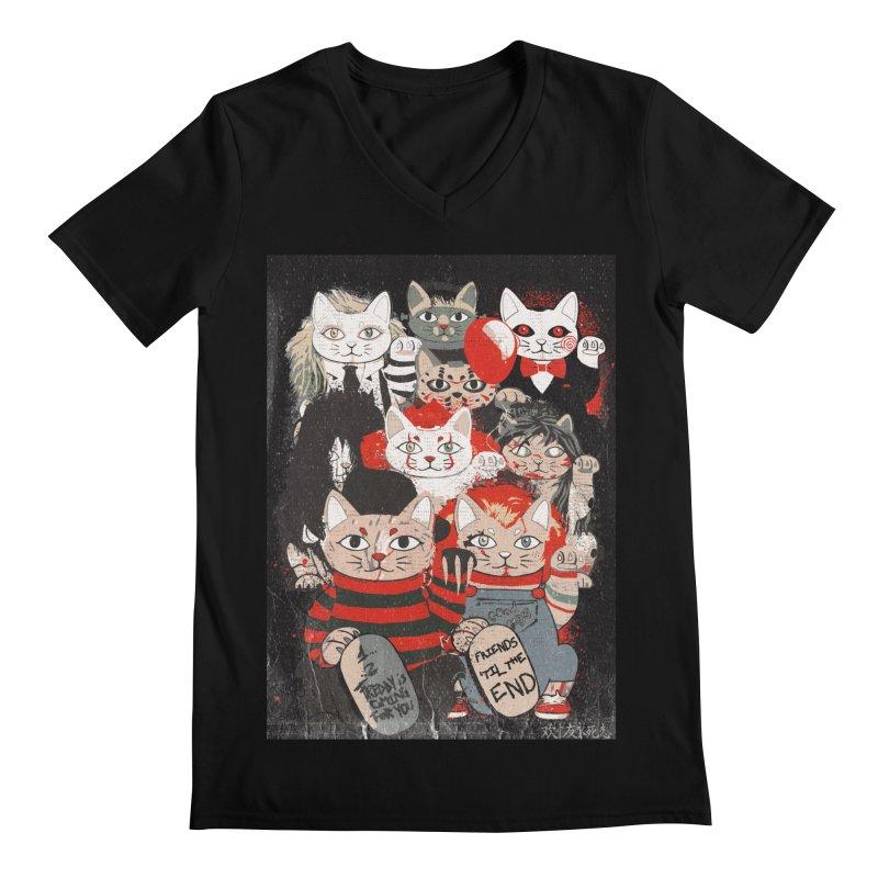 Horror Maneki Neko Vintage Gang Halloween Party 2019 T-Shirt Men's Regular V-Neck by miskel's Shop