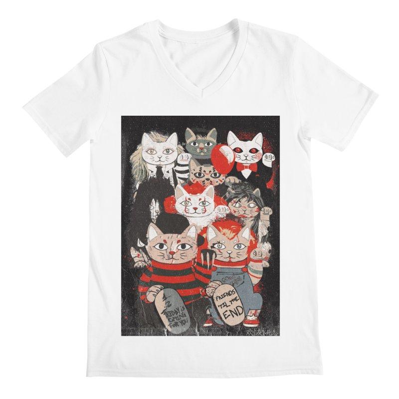Horror Maneki Neko Vintage Gang Halloween Party 2019 T-Shirt Men's V-Neck by miskel's Shop