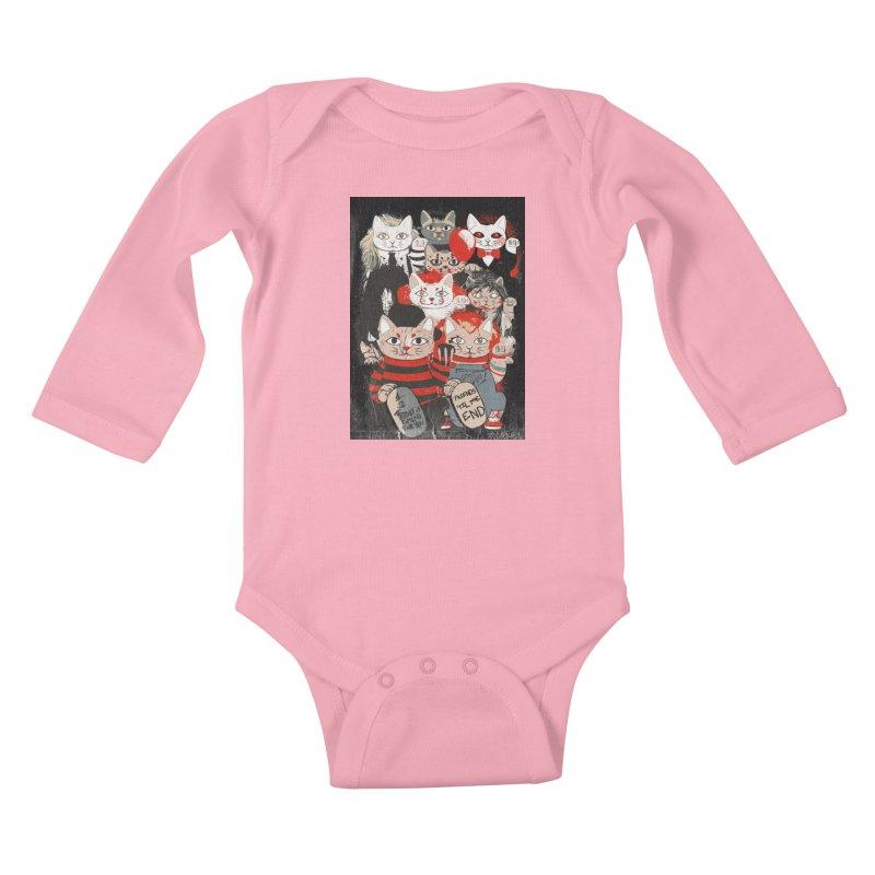 Horror Maneki Neko Vintage Gang Halloween Party 2019 T-Shirt Kids Baby Longsleeve Bodysuit by miskel's Shop