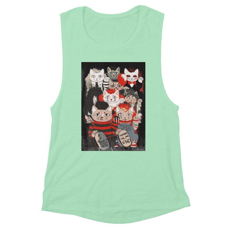 Horror Maneki Neko Vintage Gang Halloween Party 2019 T-Shirt Women's Muscle Tank by miskel's Shop