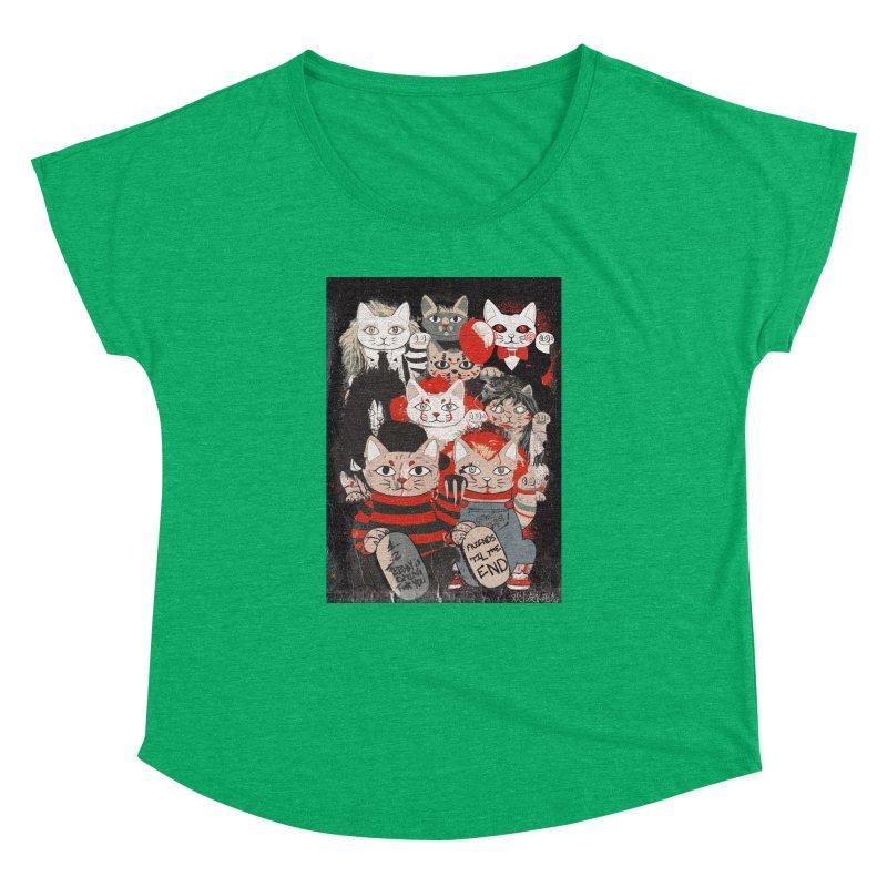 Horror Maneki Neko Vintage Gang Halloween Party 2019 T-Shirt Women's Dolman Scoop Neck by miskel's Shop