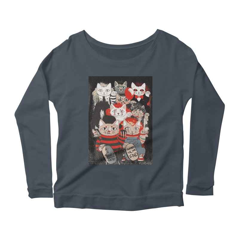 Horror Maneki Neko Vintage Gang Halloween Party 2019 T-Shirt Women's Scoop Neck Longsleeve T-Shirt by miskel's Shop
