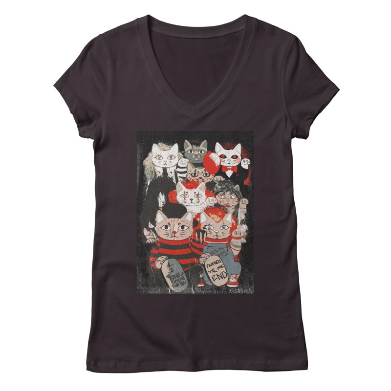 Horror Maneki Neko Vintage Gang Halloween Party 2019 T-Shirt Women's Regular V-Neck by miskel's Shop