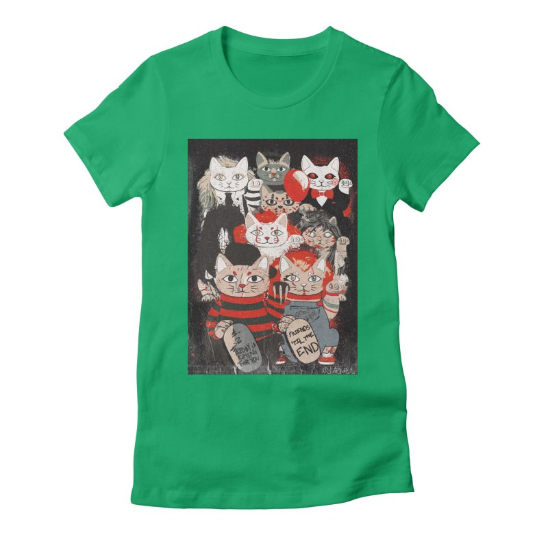Horror Maneki Neko Vintage Gang Halloween Party 2019 T-Shirt Women's Fitted T-Shirt by miskel's Shop