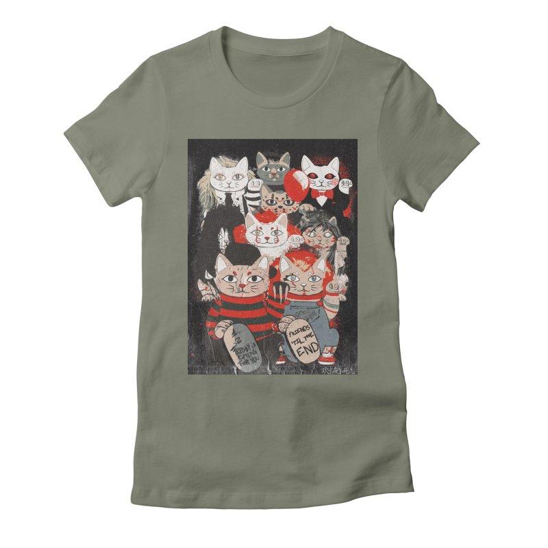 Horror Maneki Neko Vintage Gang Halloween Party 2019 T-Shirt Women's T-Shirt by miskel's Shop