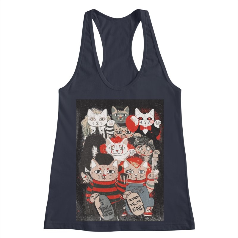 Horror Maneki Neko Vintage Gang Halloween Party 2019 T-Shirt Women's Racerback Tank by miskel's Shop