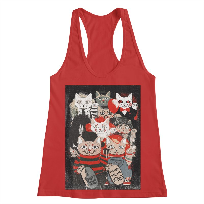 Horror Maneki Neko Vintage Gang Halloween Party 2019 T-Shirt Women's Racerback Tank by miskel's Shop