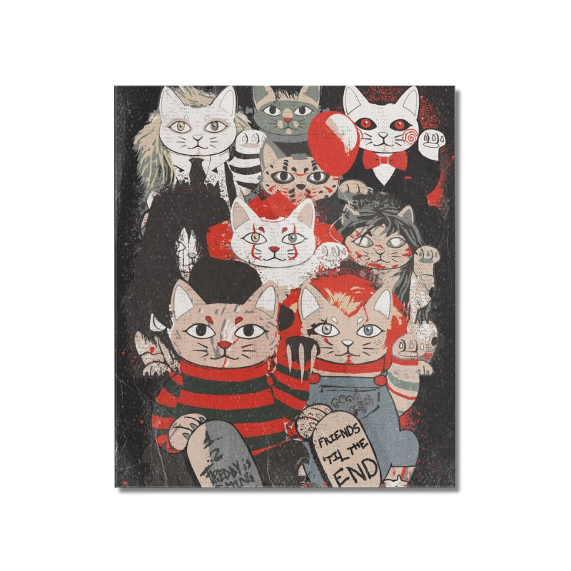 Horror Maneki Neko Vintage Gang Halloween Party 2019 T-Shirt Home Mounted Acrylic Print by miskel's Shop