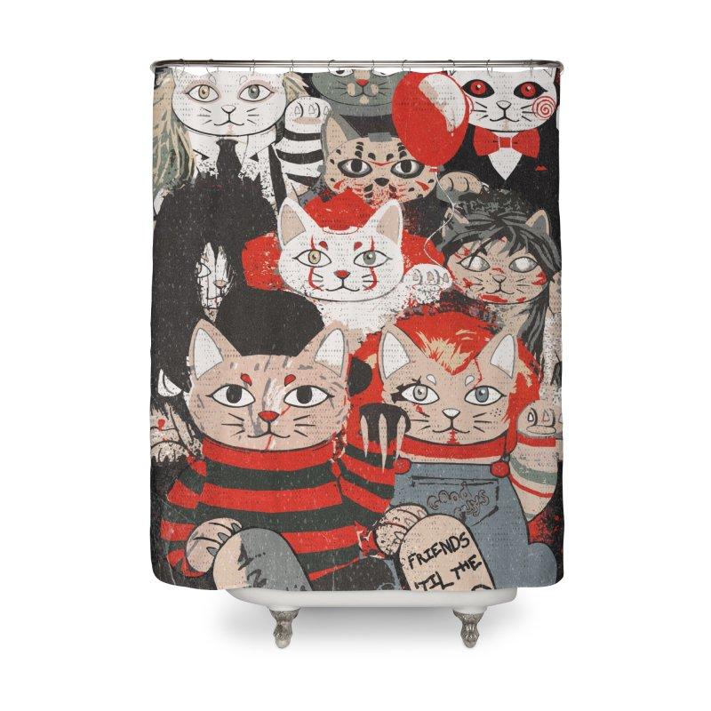 Horror Maneki Neko Vintage Gang Halloween Party 2019 T-Shirt Home Shower Curtain by miskel's Shop