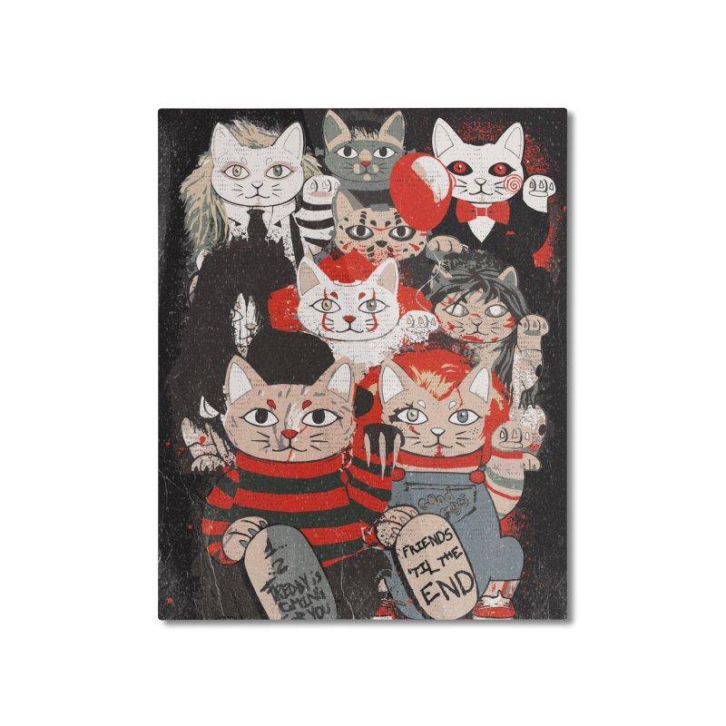 Horror Maneki Neko Vintage Gang Halloween Party 2019 T-Shirt Home Mounted Aluminum Print by miskel's Shop