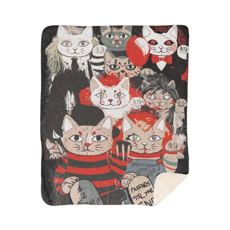 Horror Maneki Neko Vintage Gang Halloween Party 2019 T-Shirt Home Sherpa Blanket Blanket by miskel's Shop