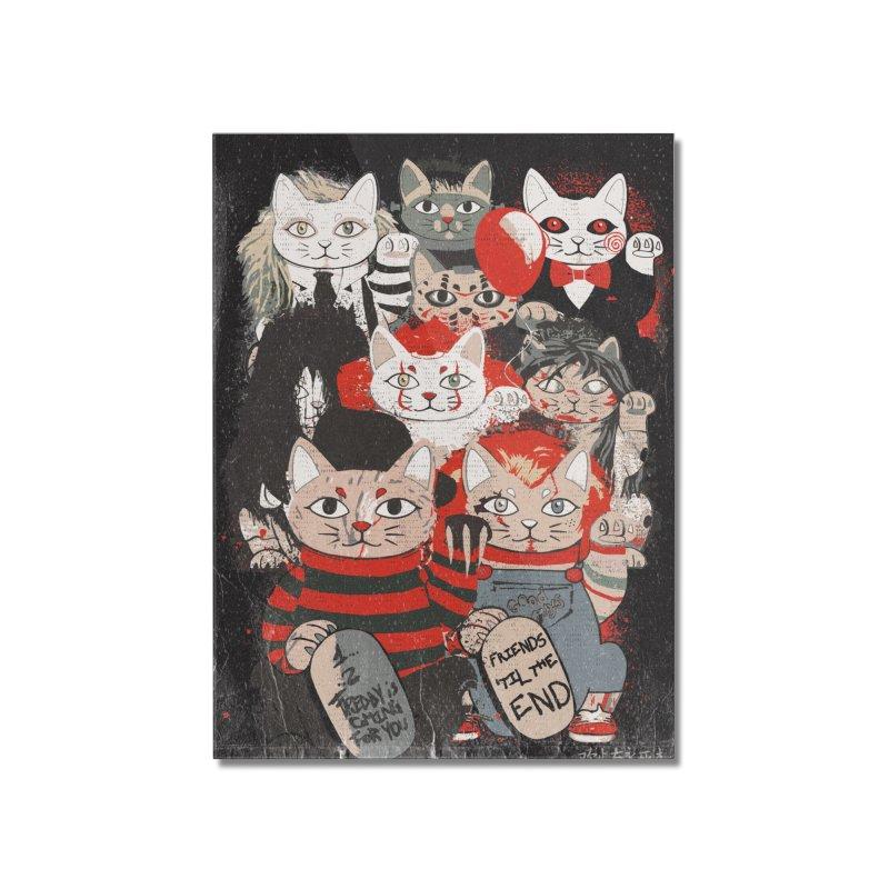 Horror Maneki Neko Vintage Gang Halloween Party 2019 T-Shirt Home Mounted Acrylic Print by miskel's Shop