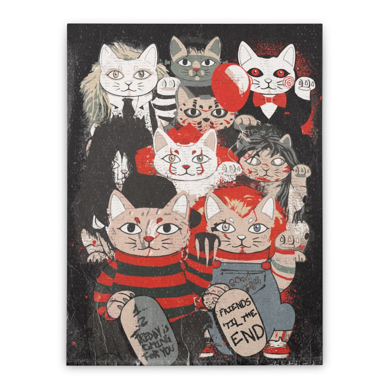 Horror Maneki Neko Vintage Gang Halloween Party 2019 T-Shirt Home Stretched Canvas by miskel's Shop