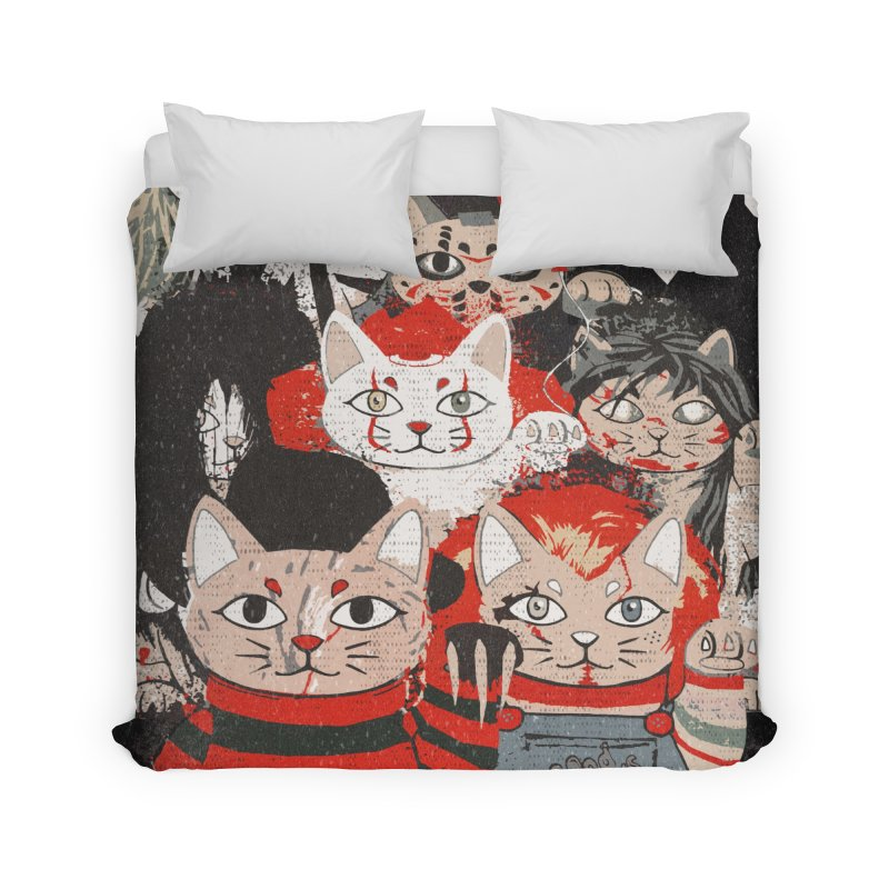 Horror Maneki Neko Vintage Gang Halloween Party 2019 T-Shirt Home Duvet by miskel's Shop