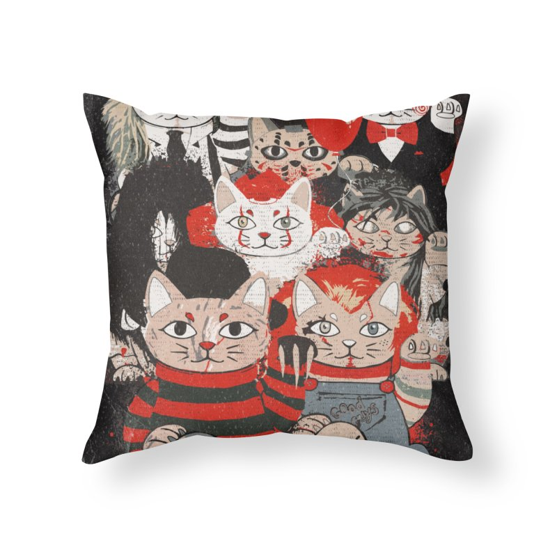 Horror Maneki Neko Vintage Gang Halloween Party 2019 T-Shirt Home Throw Pillow by miskel's Shop