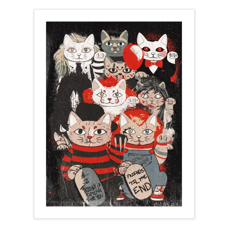 Horror Maneki Neko Vintage Gang Halloween Party 2019 T-Shirt Home Fine Art Print by miskel's Shop