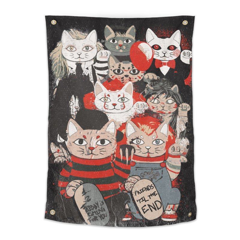 Horror Maneki Neko Vintage Gang Halloween Party 2019 T-Shirt Home Tapestry by miskel's Shop