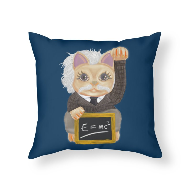Maneki Neko Good Luck Einstein Cosplay Outfit Gift 2020 Home Throw Pillow by miskel's Shop