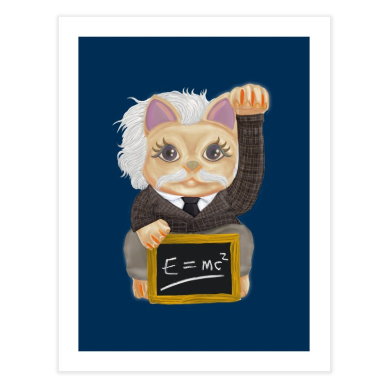 Maneki Neko Good Luck Einstein Cosplay Outfit Gift 2020 Home Fine Art Print by miskel's Shop