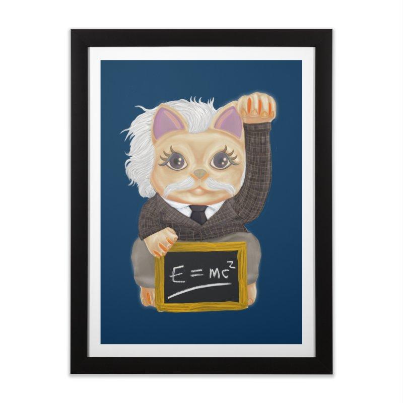 Maneki Neko Good Luck Einstein Cosplay Outfit Gift 2020 Home Framed Fine Art Print by miskel's Shop