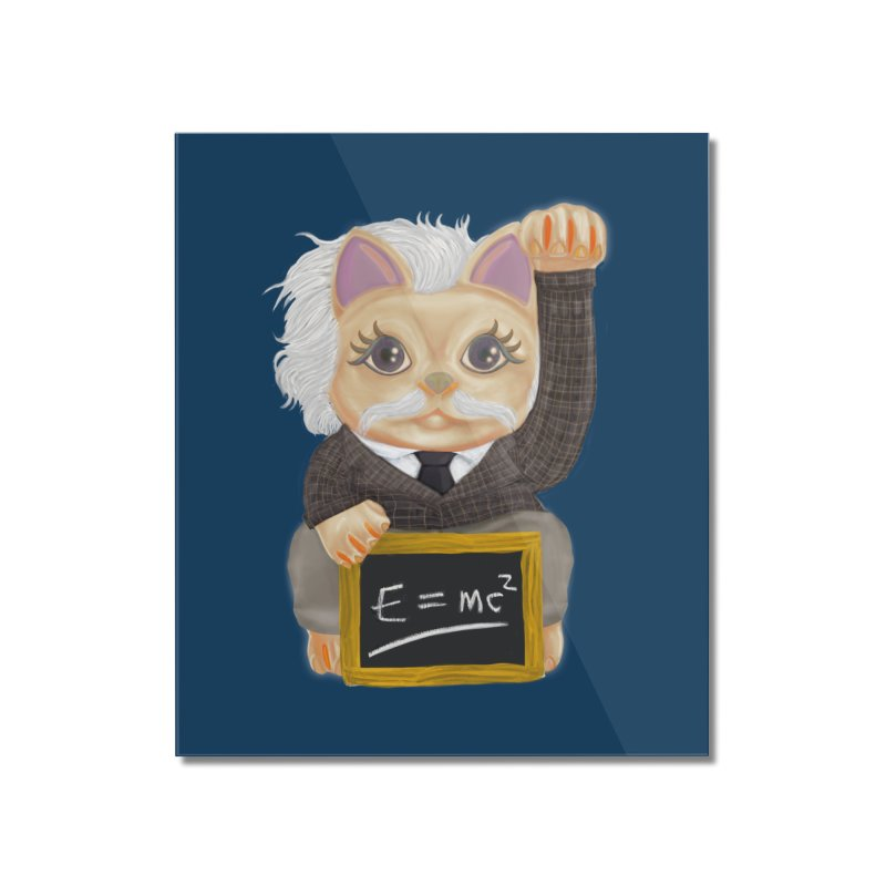 Maneki Neko Good Luck Einstein Cosplay Outfit Gift 2020 Home Mounted Acrylic Print by miskel's Shop