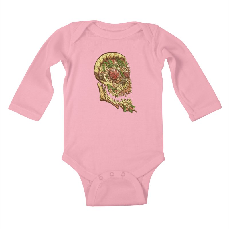 Pizza Face Kids Baby Longsleeve Bodysuit by miskel's Shop