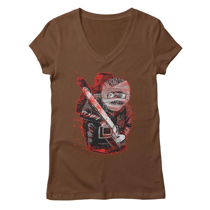 Chainsaw Mummy Women's Regular V-Neck by miskel's Shop
