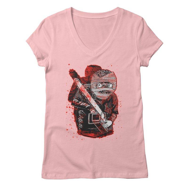 Chainsaw Mummy Women's V-Neck by miskel's Shop