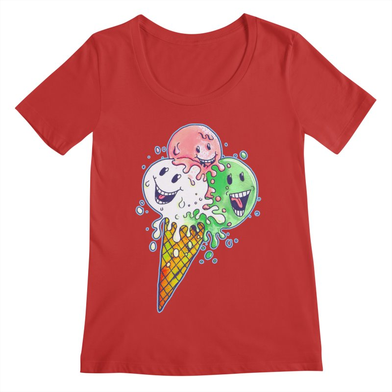 Ice Cream Tee Women's Scoop Neck by miskel's Shop