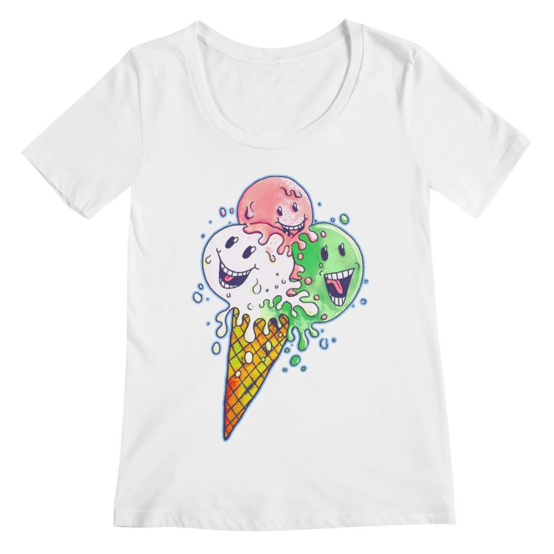 Ice Cream Tee Women's Regular Scoop Neck by miskel's Shop