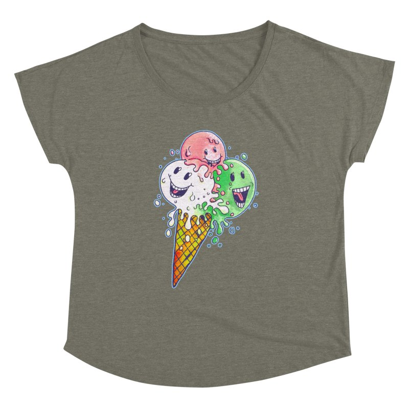 Ice Cream Tee Women's Dolman Scoop Neck by miskel's Shop