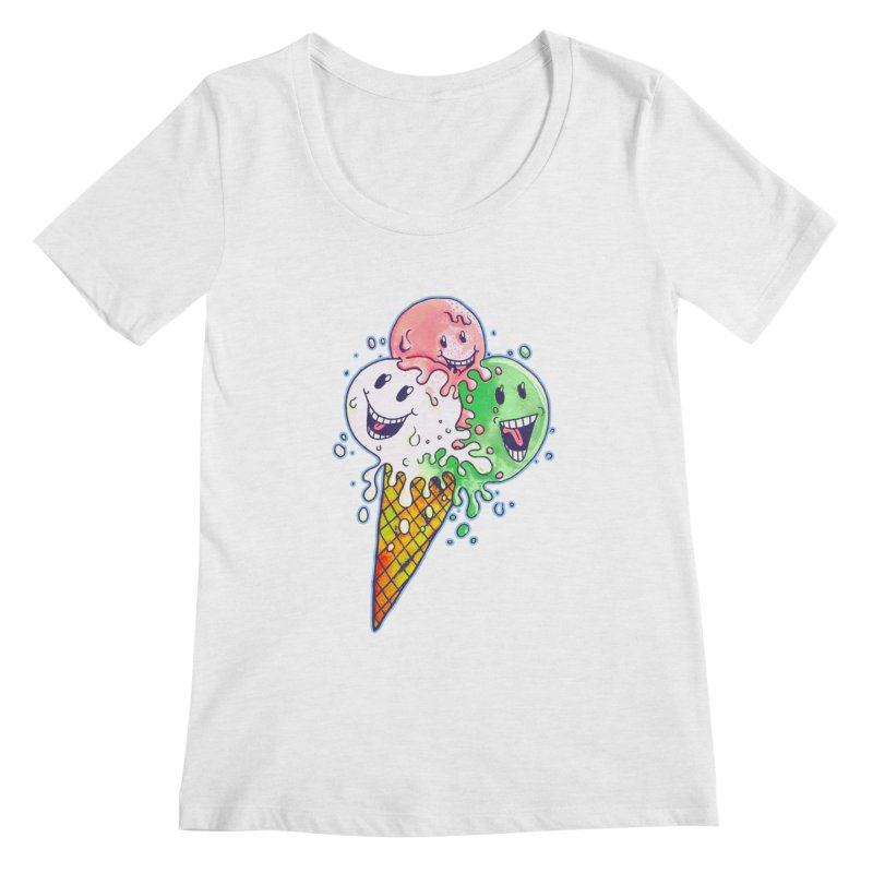 Ice Cream Tee Women's Scoop Neck by miskel's Shop