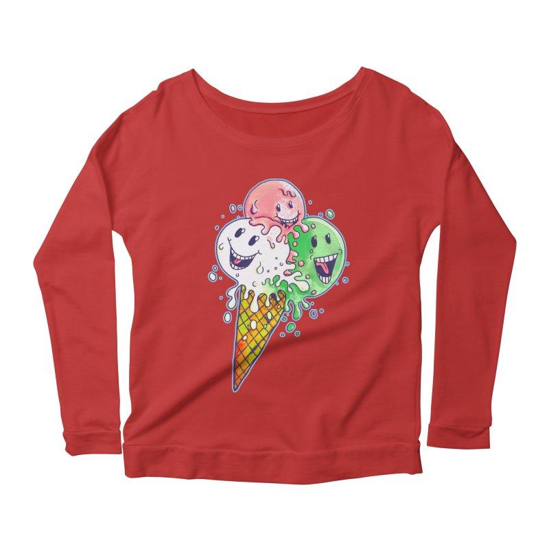 Ice Cream Tee Women's Scoop Neck Longsleeve T-Shirt by miskel's Shop