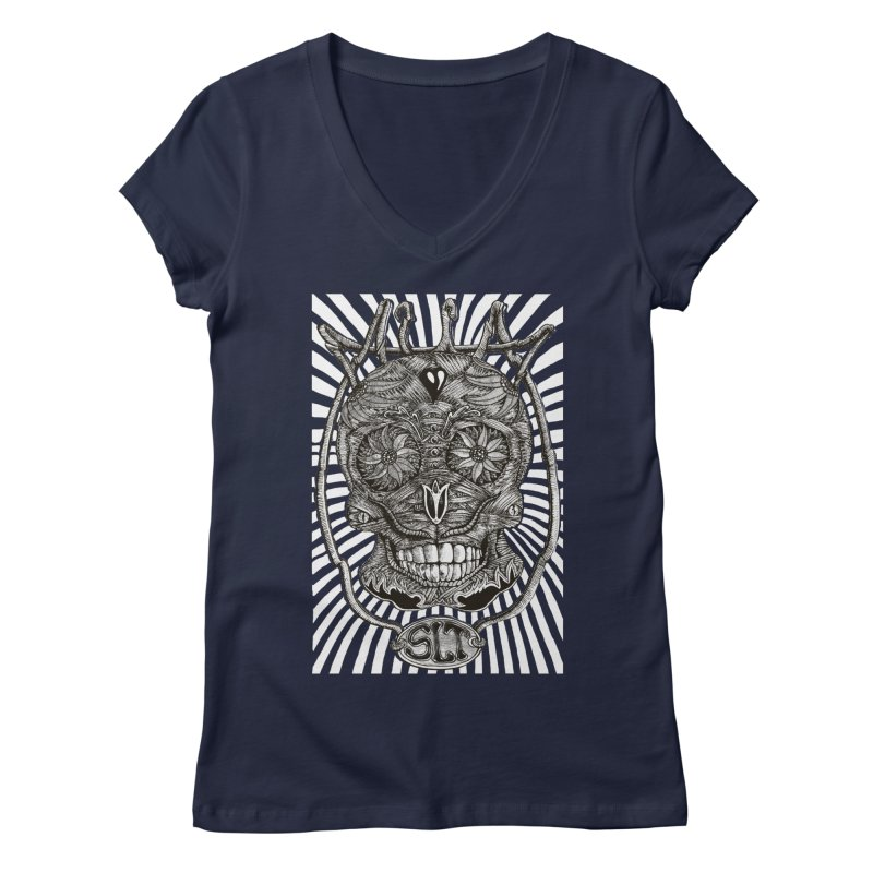 Skull MuM Classic  Women's V-Neck by miskel's Shop