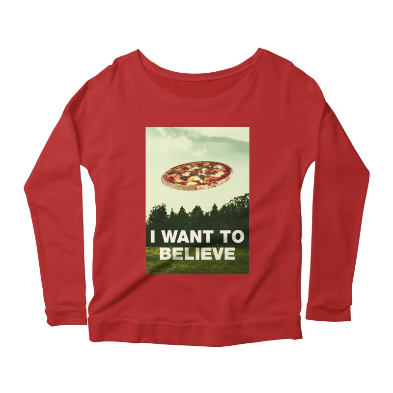I WANT TO BELIEVE Women's Longsleeve Scoopneck  by miskel's Shop